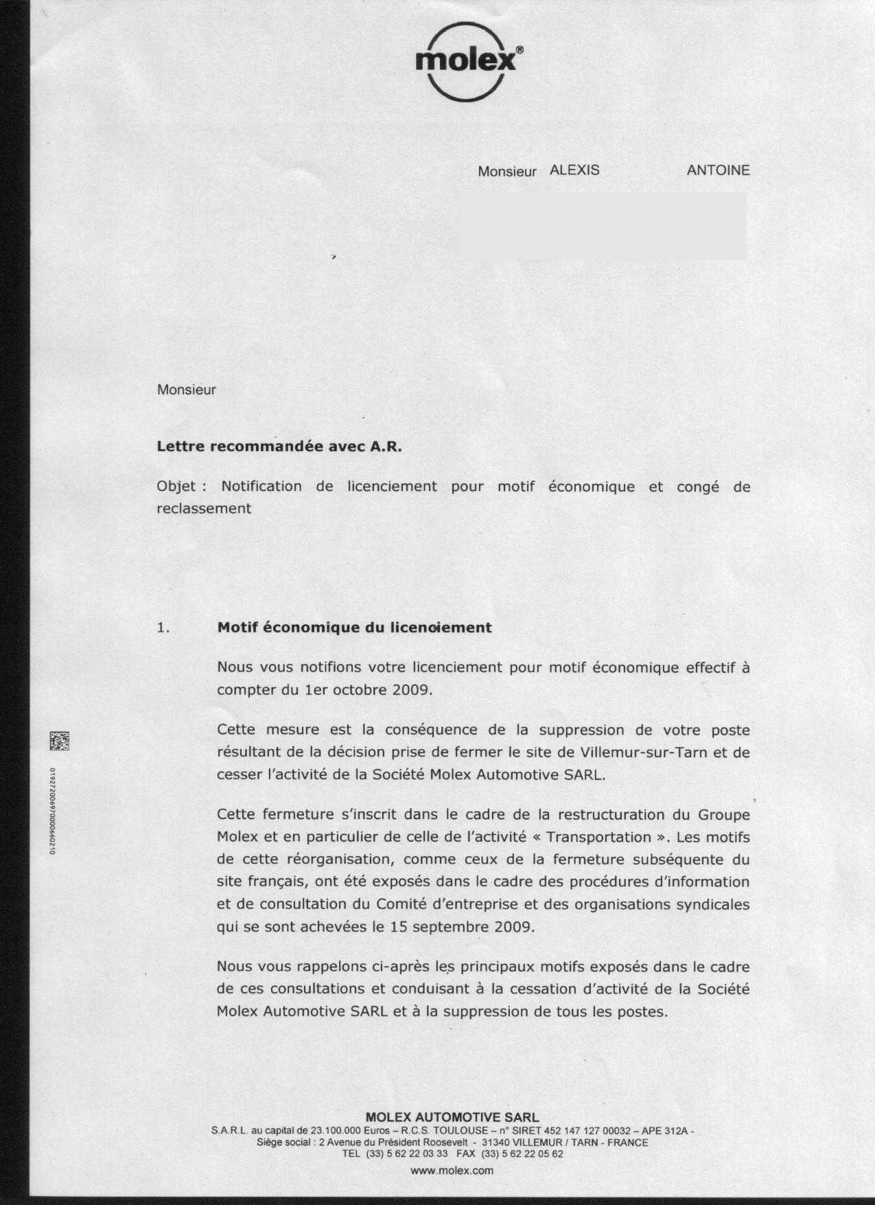 Molex Le Createur De Chomeurs La Lettre De Licenciement